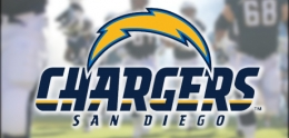 Photo of San Diego Chargers Logo and Chargers Players in the Background