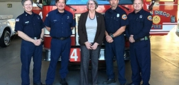 Photo of Sherri Lighter with Station 47 Firefighters