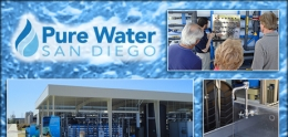 Graphic of Pure Water San Diego logo and water purification treatment center