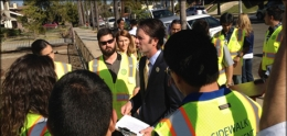 Photo of Councilman Kersey Speaking with Sidewalk Assessment Team