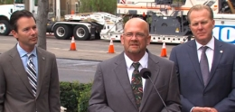 Photo of Councilmember Scott Sherman speaking at street repair news conference