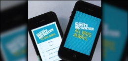 Graphic of Waste No Water smartphone apps.