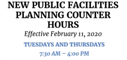 New Public Facilities Planning Counter Hours