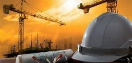 Picture of cranes, a hard hat, and plans depicting a Public Project.