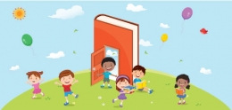 Cartoon graphic of children reading books.