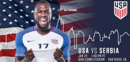 USA vs Serbia soccer game announcement