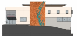 Susan Zoccola's art proposal for facade of firestation 50 which looks like local orange land with a stream running through it