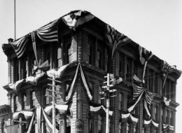 San Diego City Hall with flags and bunting, 1912