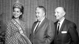 Mayor Curran with 1967 Miss World USA
