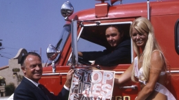 Chief Bell and1969 Miss Flame Promoting Fire Prevention Week