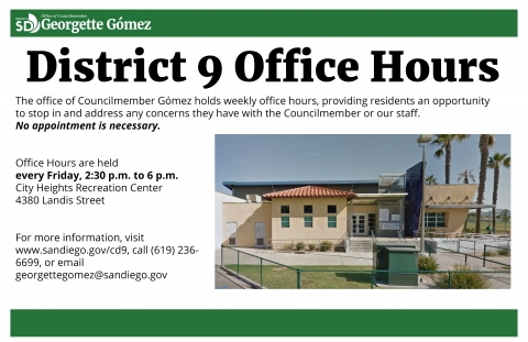 D9 Office Hours held 2:30 to 6PM at the City Heights Rec Center
