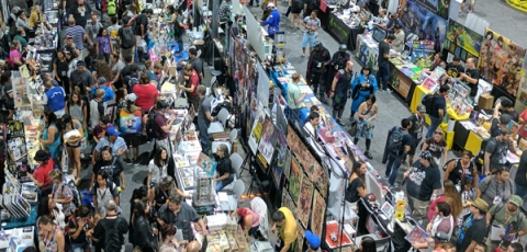 Photos of attendees at a comic convention