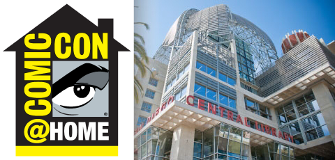 Comic Con @ Home logo with Central Library's Dome
