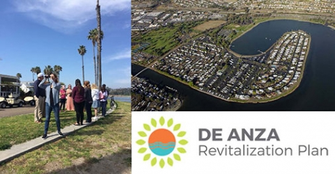 Photo Collage of De Anza Revitalization Plan Images and Logo