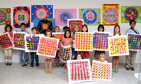 Photo of children holding their paintings at summer arts camp at Athenaeum Music & Arts Library.