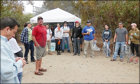 Photo of Councilmember Sherman talking to the volunteers before the San Diego River Park Clean Sweep Cleanup