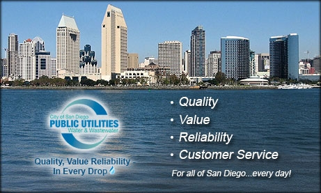Graphic of San Diego skyline with tagline Quality, Value, Reliability, Customer Service