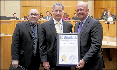 Photo of Councilmember Sherman with David Akin, the Customer Advocate for the City Water Department, declaring December 10th David Akin Day in the City of San Diego
