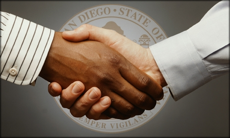 Photo of hand shake and City Seal