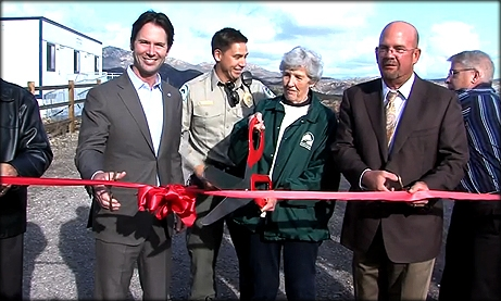Screen Capture of Councilmember Sherman at the Mission Trails Ribbon Cutting Ceremony