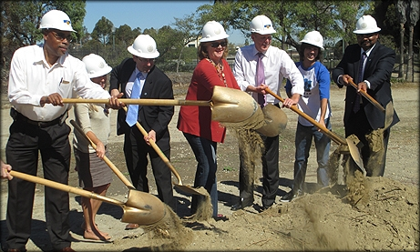 Photo of Park & Recreation Deputy Director David Monroe, Project Manager Alexandra Corsi, Public Works Deputy Director Mark Nassar, Councilmember Marti Emerald, Mayor Kevin Faulconer, Terry Stanley, and Park & Recreation Department Director Herman Parker