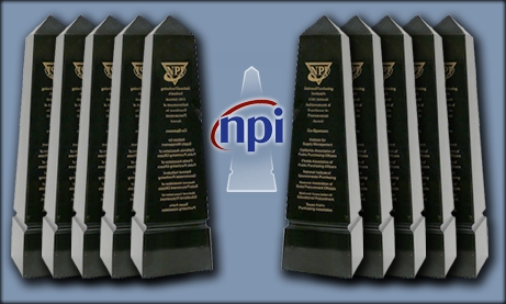 Photo Collage of 10 NPI Procurement Awards and NPI logo