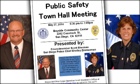 Photo of Public Safety Town Hall Meeting Flyer on May 27, 2014, 5:30-7:30pm at Bayside Community Center, 2202 Comstock St., San Diego, CA 92111, Presented by Councilmember Scott Sherman and San Diego Police Chief Shelley Zimmerman.