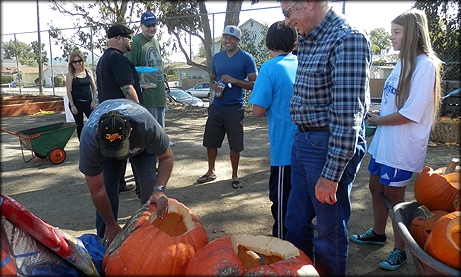 Photo of Councilmember Sherman delivering pumpkins for the 2nd Annual San Carlos Community Garden Pumpkin Smash