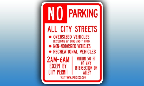 Graphic of No Parking, All City Streets, Oversized Vehicles, Exceeding 27' Long and 7' High, Non-Motorized Vehicles, Recreational Vehicles, 2am-6am, except by city permit, within 50 ft of any intersection or alley.
