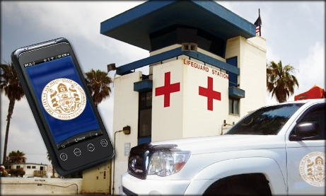 Photo collage of Lifeguard tower, Toyota truck, and Sprint phone