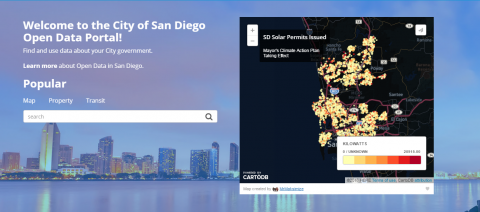 San Diego's New Open Data Portal Homepage
