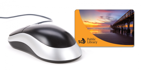 Graphic with computer mouse and library card