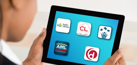 Tablet with library mobile applications.