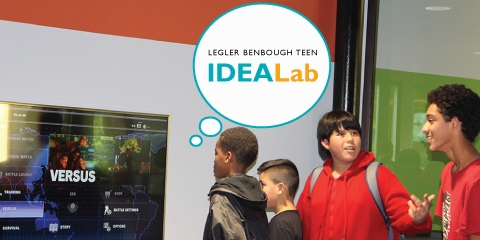 Legler Benbough Teen IDEA Lab with kids playing video game