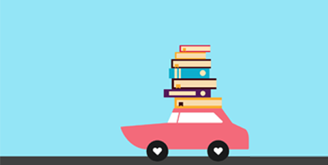 Graphic of car with books on roof