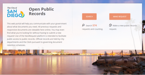 Screen Capture of Open Public Records Site