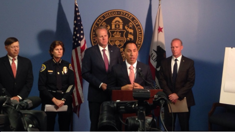 Photo of Todd Gloria speaking at news conference about Spice ban