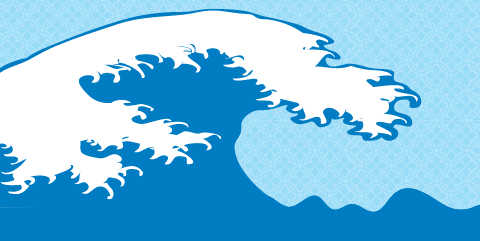 Cartoon image of Hokusai's wave