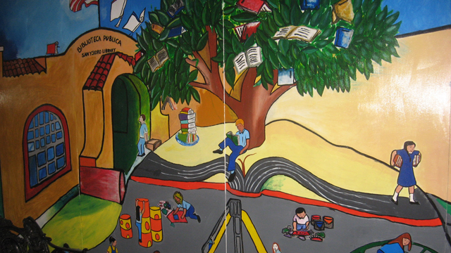 Colorful mural at the San Ysidro Library