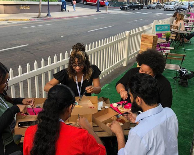 Temporary outdoor dining on a parking lane in downtown San Diego
