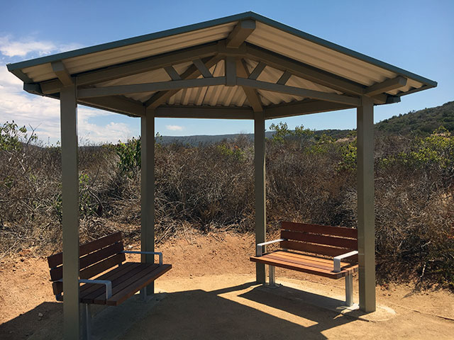 Photo of shaded benches